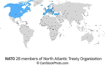 NATO member countries in vector world map - 28 NATO member...