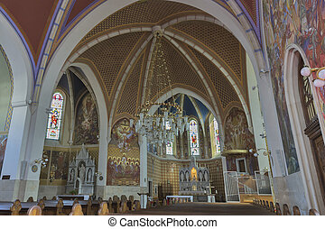 Neo Gothic Church of Saint Martin interior in Bled - Neo...