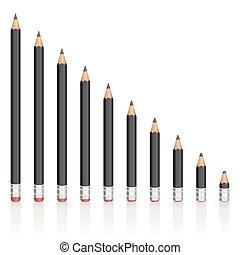 Graphite Pencils Reduction Sizes