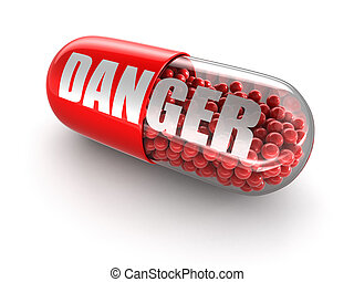 Pill Danger. Image with clipping path