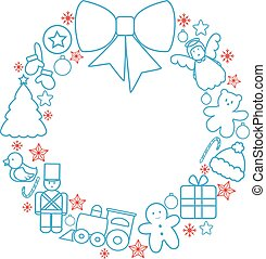 Christmas toys wreath - Christmas toys garland line vector
