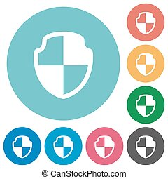 Flat shield icons - Flat shield icon set on round color...