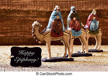 three kings and text happy epiphany - a black label with the...