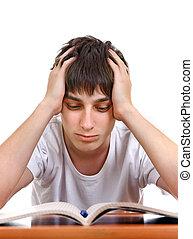 triste, estudante, cansadas