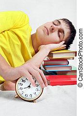 Teenager sleep with Alarm Clock - Teenager sleep on the...