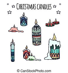 Set of colorful candles