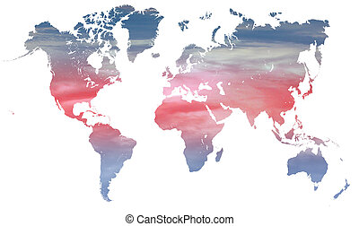 world climate and temperature - blue and red climate change...