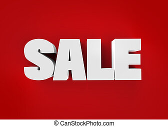 Sale word isolated on red background with path. 3D render.
