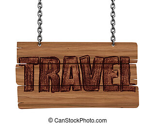 Wooden Blackboard with travel. Image with clipping path