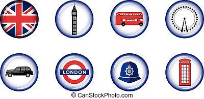 London Glossy Icon Set - Set of vector graphic glossy...