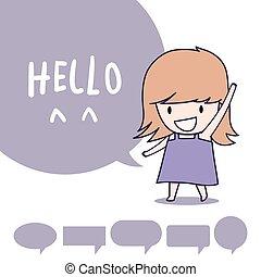 girl say hello - girl standing and say hello