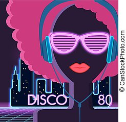 Disco 80s. Girl with Headphones