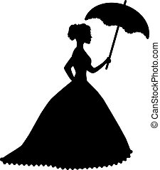 retro silhouette of a woman with an umbrella in a...