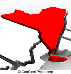 New York State Map - Red Abstract 3d Illustration - A 3d...