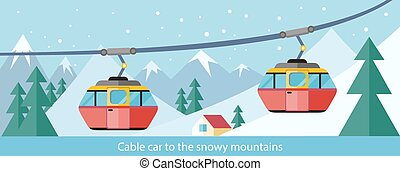 Cable Car to Snowy Mountains Design - Cable car to snowy...