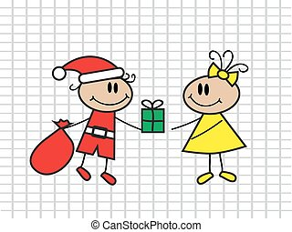 presentation of gifts - cartoon boy with a bag in a suit of...