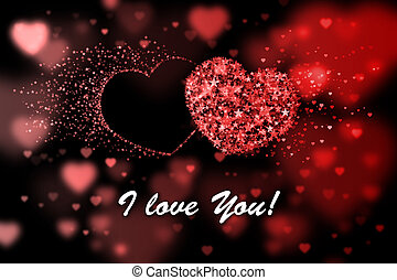 I love You. Red hearts background with bokeh effect