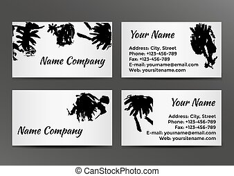 Black and white business card with inkblots