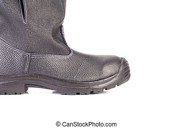 rubber boot black color. isolated on a white background