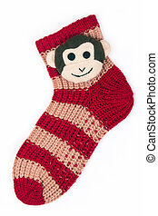 Christmas sox with monkey on white background - Christmas...