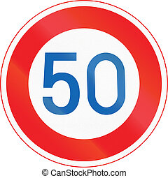 Japanese road sign - Maximum Speed Limit 50 kmh.