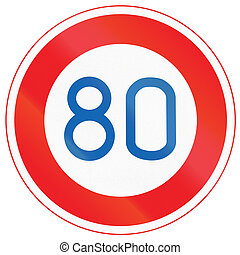 Japanese road sign - Maximum Speed Limit 80 kmh.