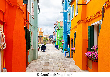 The island of Burano. Italy. - Burano. The island in the...