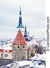 Winter Tallinn - Beautiful view to winter Tallinn Old Town,...