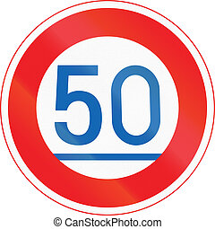 Japanese road sign - Minimum Speed 50 kmh.