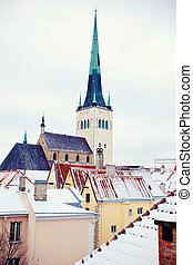 Winter Tallinn - Beautiful view to winter Tallinn Old Town,...