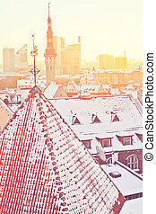 Winter Tallinn - Beautiful view to winter Tallinn Old Town...