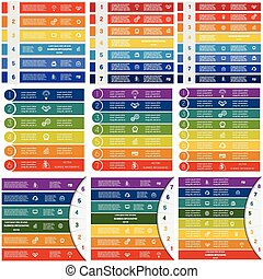 Infographic 6,7,8 positions - Set Infographic Vector...