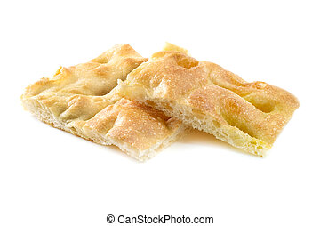 Ligurian focaccia bread on a white background