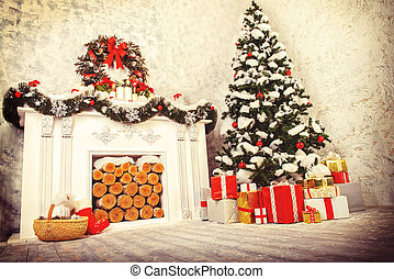 atmosphere xmas - Home interior. A room with a fireplace and...