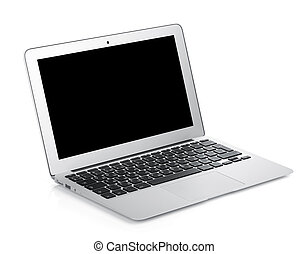Netbook with black blank screen. Isolated on white...