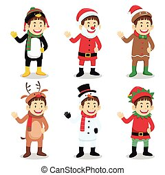 Boy Wearing Christmas Costume