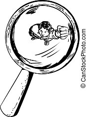 Person Under Magnifying Glass Outline - Outline of angry man...