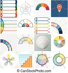 Vector 16 templates Infographics cyclic processes - Vector...