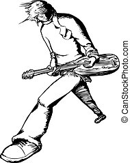 Single Electric Guitarist Outline - Young male electric...