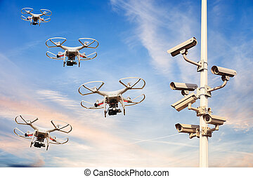 Protected area - Many drones flying against the blue sky.