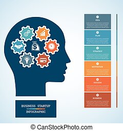 Startup business concept six positions - Vector image for...