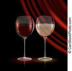 couple glasses of wine - dark background and couple glasses...