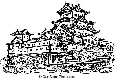 illustration vector doodle hand drawn of sketch Himeji jo castle, Japan, isolated on white.