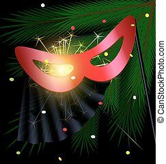 festive red half mask - festive background and a carnival...