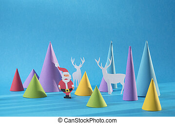 Christmas 3d paper cut handmade santa color card - Christmas...