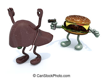 hamburger with arms wielding gun to the human liver, 3d...