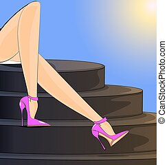 summer female legs - landscape of abstract stairs and female...