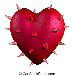red heart covered by thorns, isolated 3d illustration