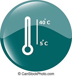 Thermometer icon web button isolated on white vector illustration