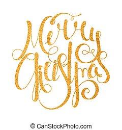 Gold handwritten inscription Merry Christmas.